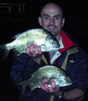 Braving a cold night in the Brisbane River produced some tasty bream fillets for breakfast.