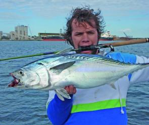 Ben Currel thought his rod looked tastier that the mac tuna he caught in the Brisbane River!