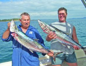 Dave and Peter Larkin with a pair of Keppel Spanish mackerel.