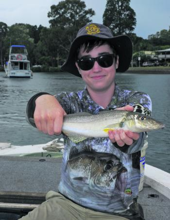 Connor Frendin with a nice whiting that he caught in Coombabah Creek.