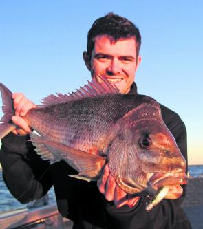 "Clinton Muller with a fantastic Bay snapper taken on a 5"" Z-Man Streakz in baby bass."