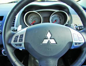 Paddle controls on the Outlander's wheel are a sure sign that Mitsubishi are serious about making their vehicles easy as possible to drive.