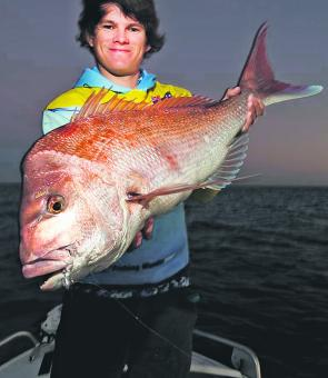 As it gets colder, snapper like this 86cm model will begin to school up and spawn.