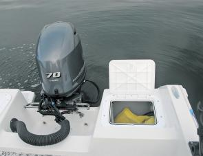 A general-purpose hatch at the rear of the craft can be set up as a live bait well if necessary.