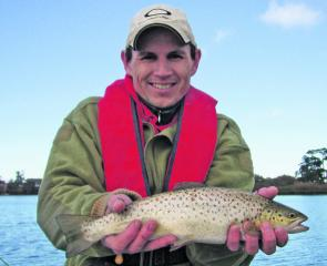 Malcolm Stevens with a cracking Lake Wendouree brown trout.