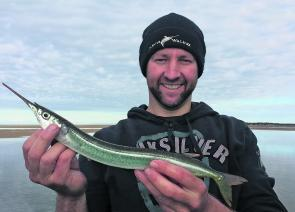 Clint Stanistreet caught the biggest garfish pulled into my boat. What a horse. 46.5cm of gar.