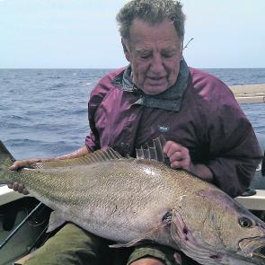 Peter Gwalter with a quality offshore jew caught during a soft plastic session on kingfish and amberjack out near South Solitary Island.