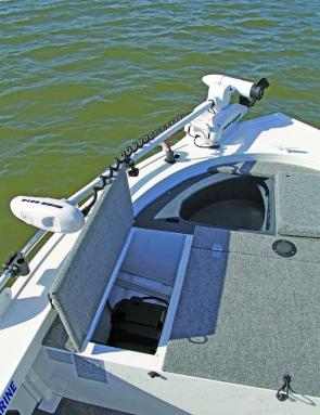 There is plenty of room up front for an anchor and ample rope, but the iPilot is all you need to keep the boat in place.