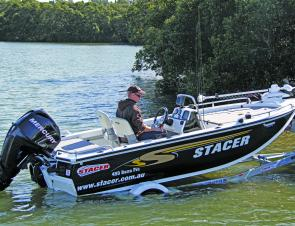The Stacer TQ48VBHW single axel, skid trailer makes launching and retrieving the Barra Pro a breeze.