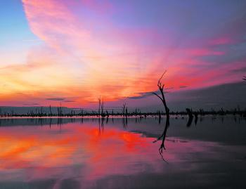 A magnificent Lake Mulwala sunset after a great day of crayfishing.