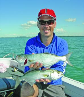 Grabbing yourself a feed of tailor at the mouth of the Brisbane River in July is a great way to spend a dawn or disk fishing session. Small cup faced poppers seem to work best.