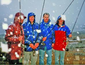 Winter's final flurries made fly fishing a little difficult, to say the least!