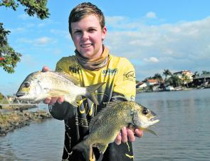 Wade Mobbs with a brace of Gold Coast winning bream.