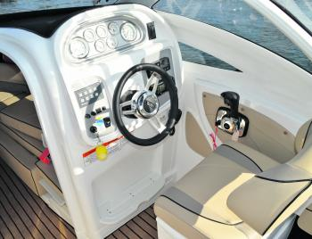 Although the helm is comfortable and all of the gauges and controls are well presented, there's not much room for a flush mounted sounder- leaving only bracket mounting solutions available. Some would consider this not optimal.