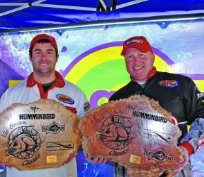 Shane Dyason and Andrew Axon display the Ecogear Glenelg Shire Bream Classic Champions' Trophies.