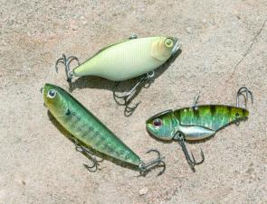 Three different lures for three very different bass techniques: the Jackall TN60, Sammy 65 and the Evergreen Little Max.