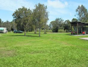 A shelter shed with barbecue is a handy feature in the Toorbul caravan park.