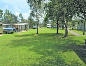 Grassed areas with shade are in good supply at Toorbul caravan park.