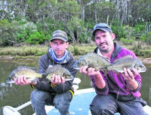Nathan and Kev with some solid bream taken on plastics. The boys caught more than 35 bream for the day and released them all.