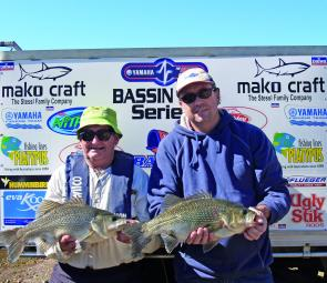 John Brider (left) and Steve Kanowski showing their prize winning catches at Somerset.