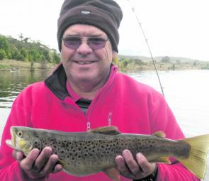 Browns should gather at the mouth of the Thredbo River and will run when there's enough rain. Bruce Phemister caught this one on a brown Tassie Devil but pink will soon be the colour of choice.