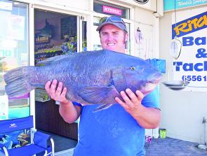 Adam Greenshields with a 10kg Crowdy Head blue groper.