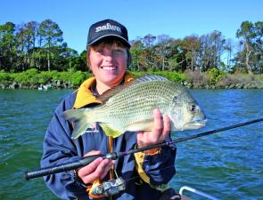 "After an epic battle this lovely 40cm bream was caught on a 2"" Berkley Gulp Minnow in pearl watermelon colour."