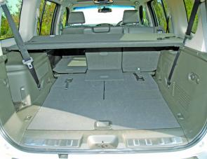 With seats down there's a van like load area within the rear of the Pathfinder.