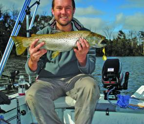 The author with a thumping 3kg trout caught at Blue Rock Lake in August flatline trolling a Crown Seal Lure.