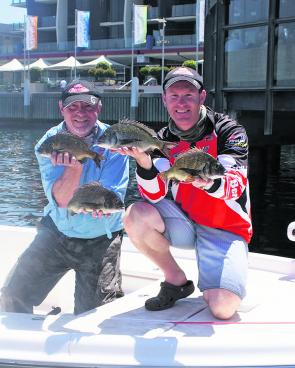 Brad and Mike Hodges from Team Berkley with a sample of the quality bream that helped secure them victory.