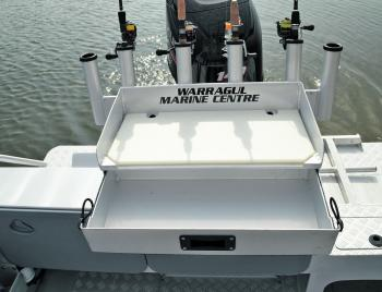The bait station on the McLay has a draw to store the essentials and plenty of rod storage.