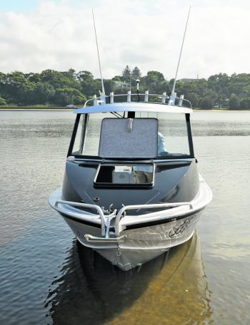 A large hatch on the cabin gives you full access to the bow of the boat.