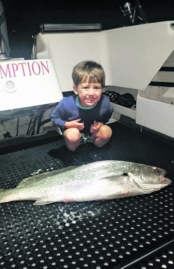 Young Nate Dial with this fine mulloway he caught recently. Nate's dad is a well-known gamefisher, but also enjoys his mulloway fishing and moments like this with his son.