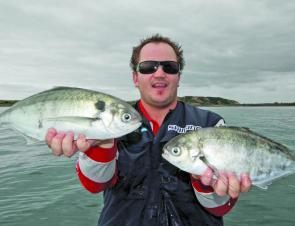 James with his hands full of snotty trevally.