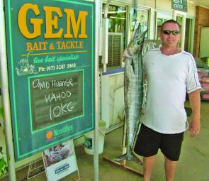 There are good wahoo just beyond the Jumpinpin Bar at the moment. David Hubner was very happy with this 10kg specimen.