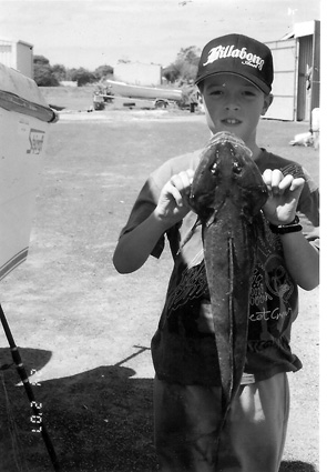 Jake Read with a 2kg flathead from Port Albert.