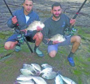 Rob Ajami and Michael Hamade had a ball off North Newport rocks casting wide for-snapper and trevally.