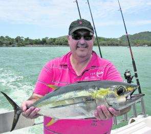 While visiting from Sydney, Calvin Fredericos caught this 6kg yellowfin tuna in Laguna Bay on charter with Fishing Offshore Noosa.
