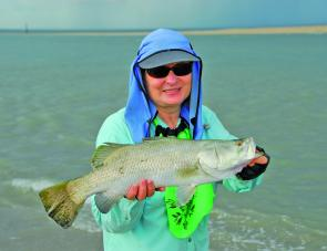 Denise Kampe with a neat barra taken at one of the local creek mouths.