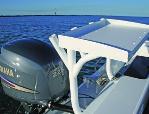 The cutting board over the transom provided extra rod storage and would make bait preparation easy.