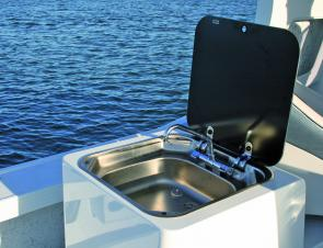 Everything including the kitchen sink! Now that's a neat idea for any boat.