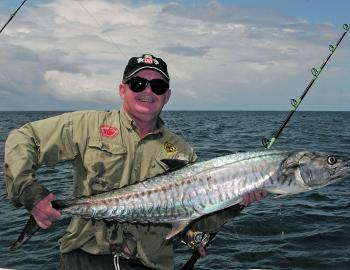 This nice barie grabbed a live frigate mackerel.