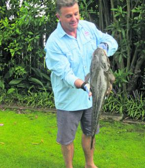 Peter Zurita with one of many flathead caught in Narrabeen Lagoon.