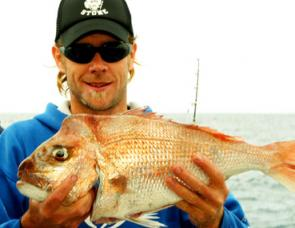 Gavin with a nice snapper caught offshore.
