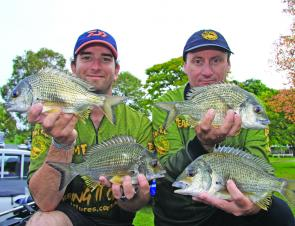 Kris Hickson and Darren Borg finished first-second again at the Clarence for Team TT Lures.