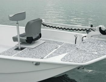 The SeaDek material provides an attractive, non-skid surface. It also grips onto other SeaDek surfaces, such as on the underside of this seat.