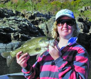 Catherine Mclean used a Strike Pro Cyber Vibe to hook this quality river bass.