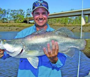 John Boon caught and released this barra in the Fitzroy at the city centre during the Barra Bounty.