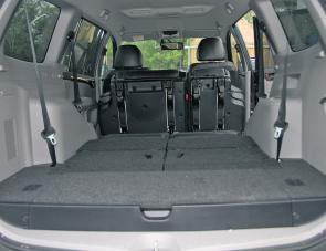 With second row seats tumbled forward, third row under the floor, the Challenger offers a great area for luggage space.