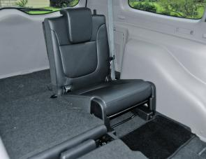 Complete with built in head rest, one of the XLS Challenger's rearmost seats has been set up for use.